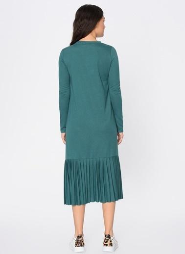 Loves You Eteği Piliseli Uzun Kol Sweat Elbise Yeşil